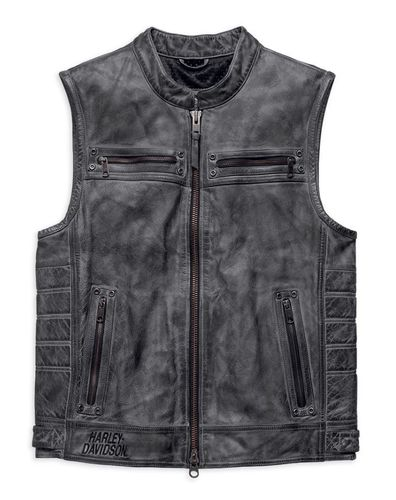 "Harley - Davidson - Herren - Leather Vest ""Veer Distressed"" - 97181-17VM"